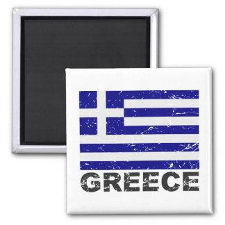Drapeau de cru de la Grèce Magnet Carré