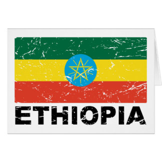 Drapeau de cru de l'Ethiopie Carte De Vœux