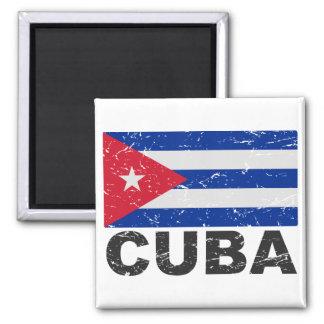 Drapeau de cru du Cuba Magnet Carré