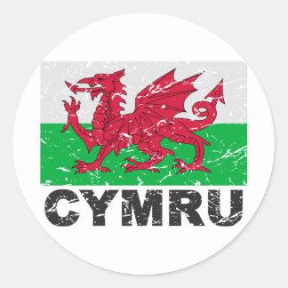 Drapeau de cru du Pays de Galles CYMRU Sticker Rond