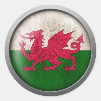Drapeau de disque du Pays de Galles Autocollant Rond