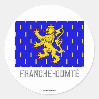 Drapeau de Franche-Comté avec le nom Sticker Rond