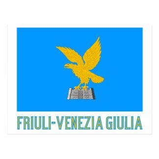 Drapeau de Friuli-Venezia Giulia avec le nom Cartes Postales