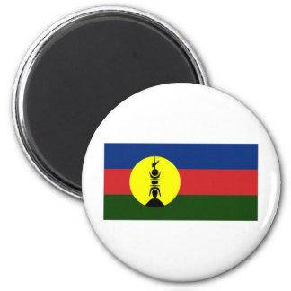 Drapeau de gens du pays de la Nouvelle-Calédonie K Magnet Rond 8 Cm