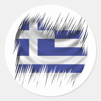 Drapeau de Grec de défibreurs Sticker Rond