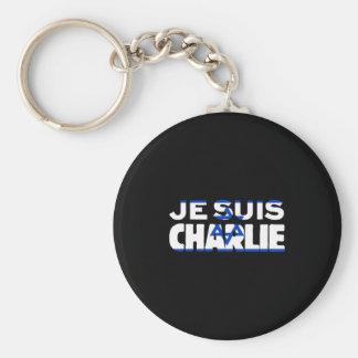 Drapeau de Je Suis Charlie-Je AM Charlie-Israël Porte-clé Rond