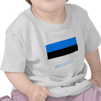 Drapeau de l Estonie avec le nom T-shirts