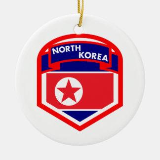 Drapeau de la Corée du Nord Ornement Rond En Céramique