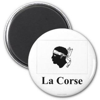Drapeau de la Corse avec le nom en français Aimants Pour Réfrigérateur
