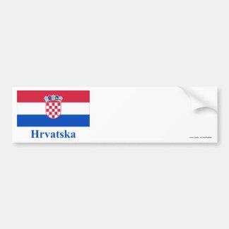 Drapeau de la Croatie avec le nom dans le Croate Autocollant Pour Voiture