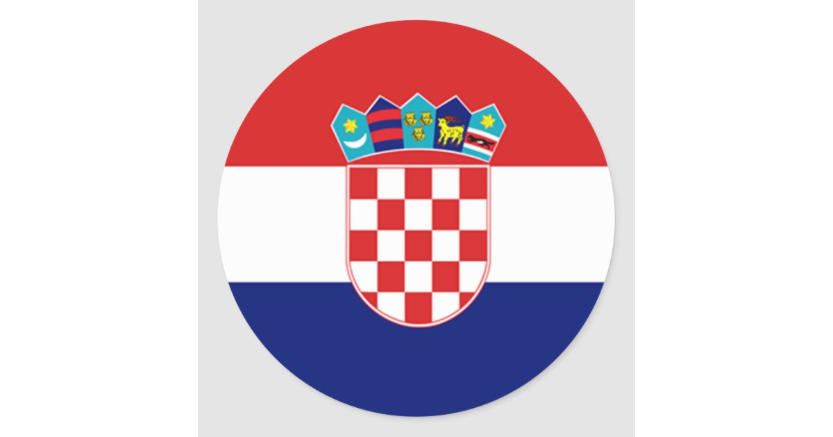 Drapeau de la croatie sticker rond zazzle for Petit miroir rond a coller