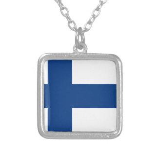 Drapeau de la Finlande (lippu de Suomen, flagga de Pendentif Carré
