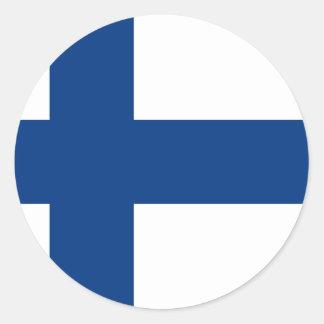 Drapeau de la Finlande (lippu de Suomen, flagga de Sticker Rond