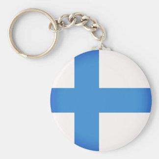 Drapeau de la Finlande Porte-clé Rond