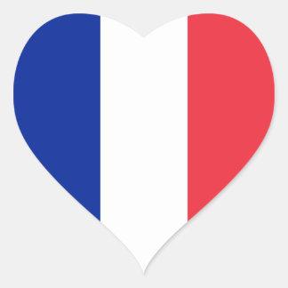 Drapeau de la France Sticker Cœur