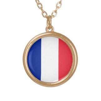 Drapeau de la France, drapeau national tricolore Pendentif Rond