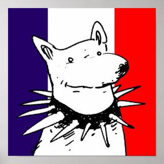 drapeau de la France et chien blanc avec le Affiches