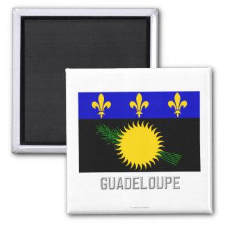 Drapeau de la Guadeloupe avec le nom Magnet Carré