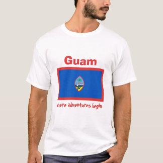 Drapeau de la Guam + Carte + T-shirt des textes