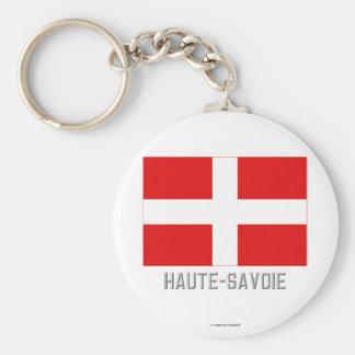 Drapeau de la Haute-Savoie avec le nom Porte-clé Rond