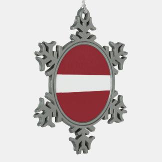 Drapeau de la Lettonie Ornement Flocon De Neige Pewter