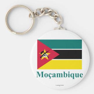 Drapeau de la Mozambique avec le nom dans le Porte-clé Rond