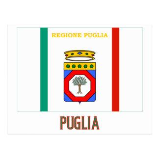 Drapeau de la Puglia avec le nom Carte Postale