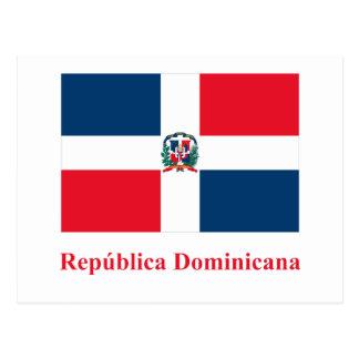 Drapeau de la République Dominicaine avec le nom Carte Postale