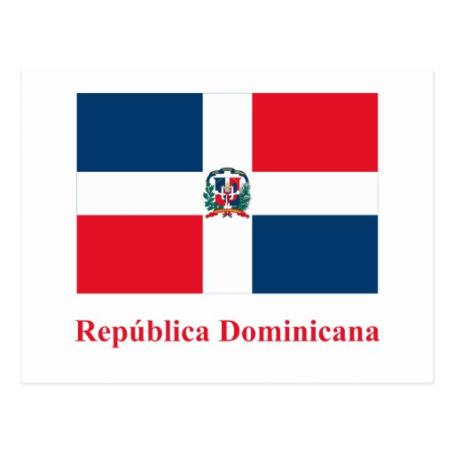 Drapeau de la République Dominicaine avec le nom d Carte Postale