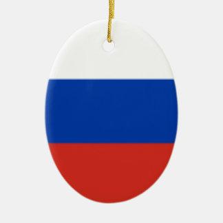 Drapeau de la Russie Ornement Ovale En Céramique