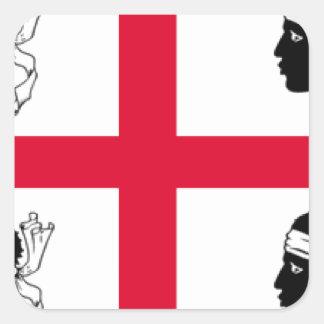Drapeau de la Sardaigne (Italie) Sticker Carré
