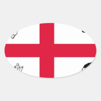 Drapeau de la Sardaigne (Italie) Sticker Ovale