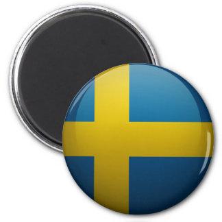 Drapeau de la Suède Magnet Rond 8 Cm