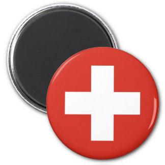 Drapeau de la Suisse Magnet Rond 8 Cm