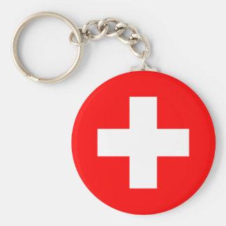 Drapeau de la Suisse Porte-clé Rond