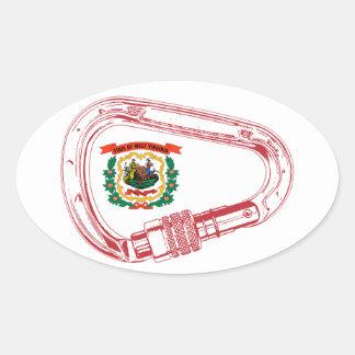 Drapeau de la Virginie Occidentale montant Sticker Ovale