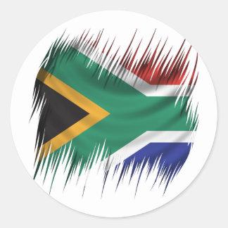Drapeau de l'Afrique du Sud de défibreurs Sticker Rond
