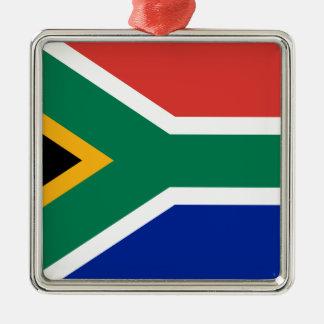 Drapeau de l'Afrique du Sud - Vlag van Suid-Afrika Ornement Carré Argenté