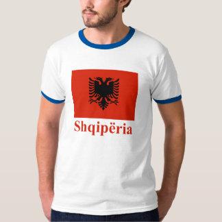 Drapeau de l'Albanie avec le nom dans l'Albanais T-shirt