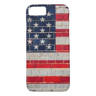 Drapeau de l'Amérique sur un mur de briques Coque iPhone 7