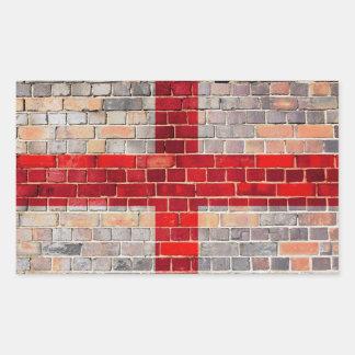 Drapeau de l'Angleterre sur un mur de briques Sticker Rectangulaire