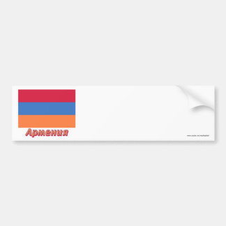 Drapeau de l'Arménie avec le nom dans le Russe Autocollant Pour Voiture
