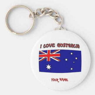 Drapeau de l'Australie d'amour du porte - clé I Porte-clé Rond