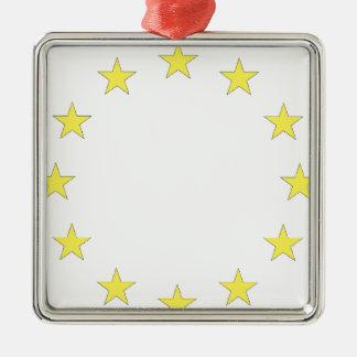 Drapeau de l'Europe - drapeau européen - Union Ornement Carré Argenté
