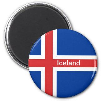 Drapeau de l'Islande Magnet Rond 8 Cm