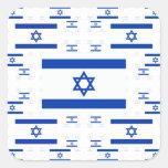 Drapeau de l'Israël dans les couches colorées Autocollant Carré