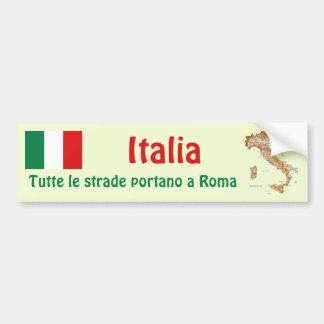 Drapeau de l'Italie + Adhésif pour pare-chocs de c Autocollants Pour Voiture