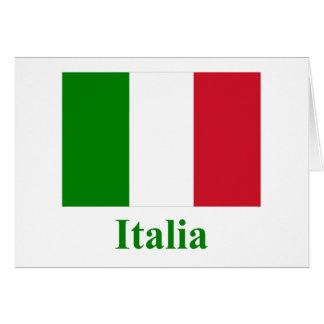 Drapeau de l'Italie avec le nom en italien Carte De Vœux