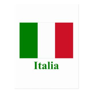 Drapeau de l'Italie avec le nom en italien Cartes Postales