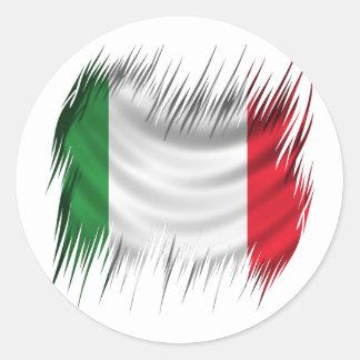 Drapeau de l'Italie de défibreurs Sticker Rond